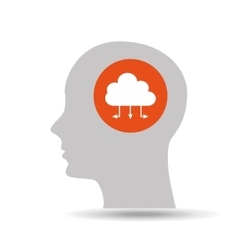 Silhouette head cloud data connected icon graphic vector