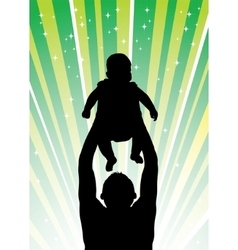 Silhouette of the father of holding child on vector