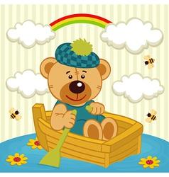 teddy bear on boat vector image vector image
