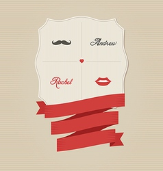 Vintage wedding invitation with lips and moustache vector