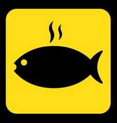 Yellow black sign - grilling fish with smoke icon vector