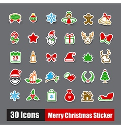 Collection of 30 sticker merry christmas icons set vector image