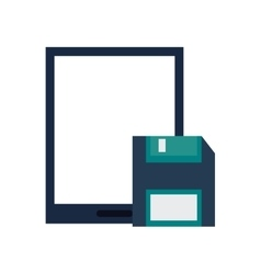 Modern cellphone and floppy disk icon vector