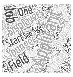 Jobs and over aged applicants word cloud concept vector