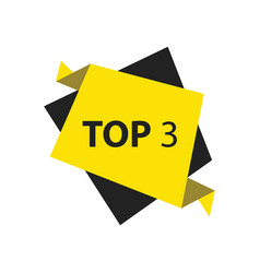 Top3 text in label black yellow vector