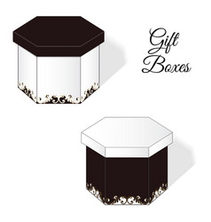 A set of two elegant gift boxes with rococo vector