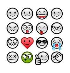 Grey round smileys set vector