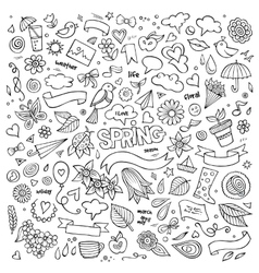 Nature spring hand drawn symbols and vector