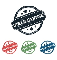 Round melbourne city stamp set vector