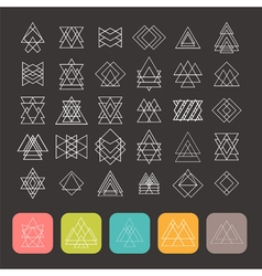 Set of 35 trendy geometric shapes Hipster retro vector image