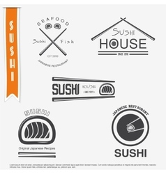 Sushi and rolls a set japanese kitchen vector