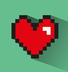 Pixelated heart on green backdrop vector
