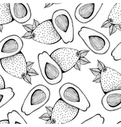 Seamless monochrome pattern of avocado vector