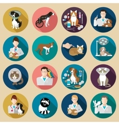 Veterinary icon flat set vet clinic pets and vector