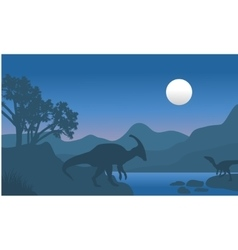 Eoraptor and parasaurolophus in river scenery vector