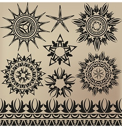 A set of patterns in a tattoo style vector image vector image