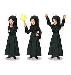 Arab businesswoman in black dress getting ideas vector