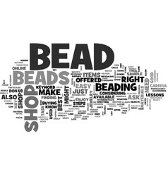 Bead shop text word cloud concept vector