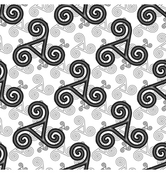 Black and white celtic triskels seamless pattern vector
