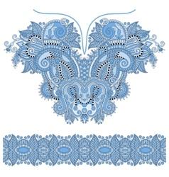 Blue colour neckline ornate floral paisley vector