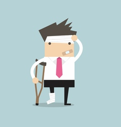 Businessman injured standing with crutches vector image vector image