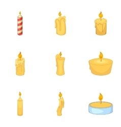 Candles burn with fire icons set cartoon style vector image