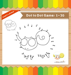 Cartoon Sheep Dot to dot educational game for kids vector image