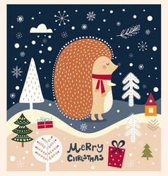 Christmas with hedgehog vector