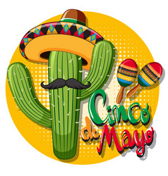 cinco de mayo card template with cactus wearing vector image vector image