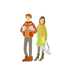 Couple Going To The Ice Ring Winter Sports vector image vector image