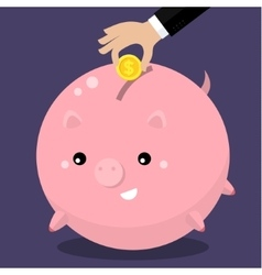 Cute fat piggy bank vector image vector image