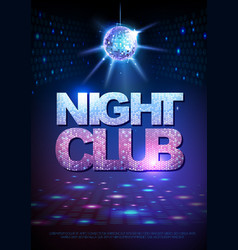 disco ball background disco poster night club vector image vector image
