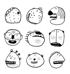 Doodle outline cartoon emotional faces with teeth vector