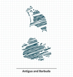 Doodle sketch of Antigua and Barbuda map vector image vector image