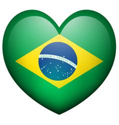 Flag of brazil in heart shape vector