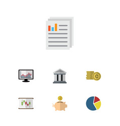 Flat icon gain set of graph cash bank and other vector