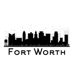 fort worth city skyline black and white silhouette vector image