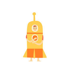 Freak man character in funny rocket costume vector