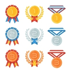 Gold silver bronze medal in flat icons set vector image
