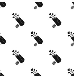 Golf bag on wheels with clubs icon in black style vector