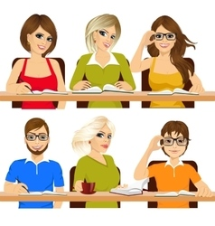 group of students studying together vector image vector image