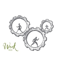Hand drawn business people running in cogwheels vector