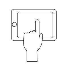 Hand touch smartphone technology app vector