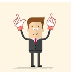 Happy businessman or manager It shows up his hand vector image vector image