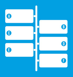 Infographic blocks on signpost icon white vector