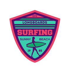 Longboard surfing camp vintage label vector