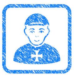 Maltese cross awarded man framed stamp vector