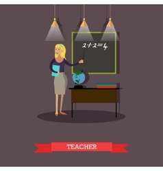 Mathematics teacher in flat vector