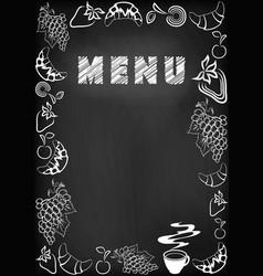 menu blackboard vector image
