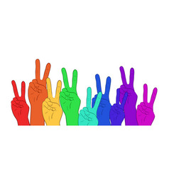 Multi colored rainbow hands showing peace vector